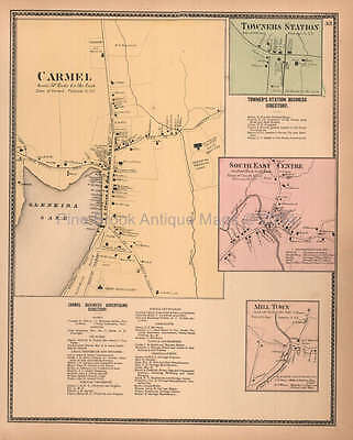 Carmel Towners Station New York Antique Map Beers 1867 Original