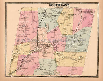 Town of Southeast New York Antique Map Beers 1867 Original