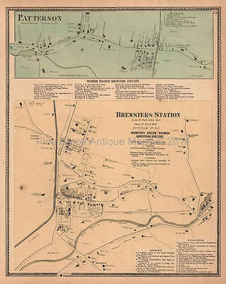 Patterson Brewsters Station New York Antique Map Beers 1867 Original