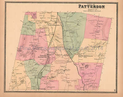 Town of Patterson New York Antique Map Beers 1867 Original