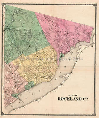 Map of Rockland County New York Antique Map Pearsall Smith 1867 Original
