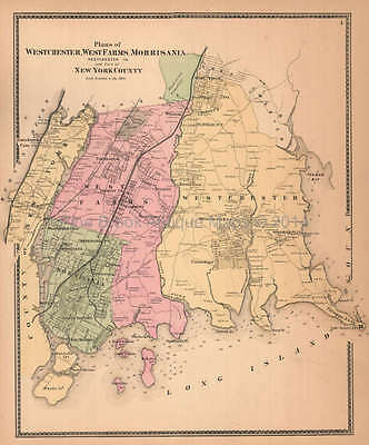 Westchester West Farms Morrisania New York Antique Map Beers 1867 Original