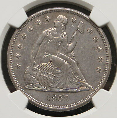 1859 O Seated Liberty Silver Dollar, NGC Certified AU 53