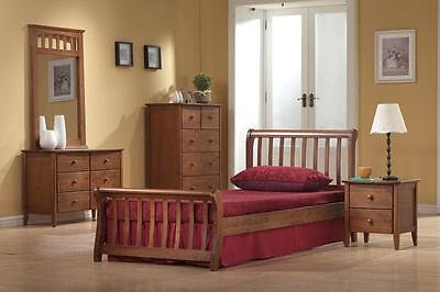 Milan Dirty Oak Small Double 4ft Stylish Wooden Sleigh Bed Frame