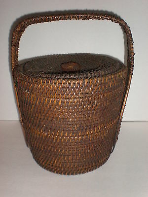 Vintage Antique 2 TIER Asian Stacking Wedding Basket Woven Wicker