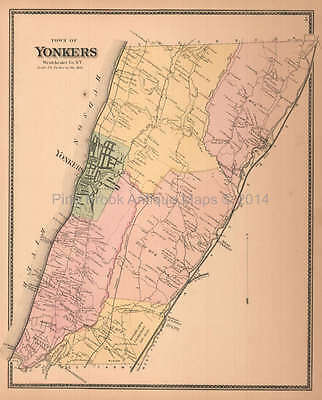 Town of Yonkers New York Antique Map Beers 1867 Original