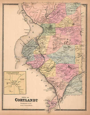 Town of Cortlandt New York Antique Map Beers 1867 Original
