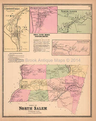 Town of North Salem New York Antique Map Beers 1867 Original