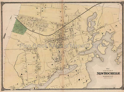 Plan of New Rochelle New York Antique Map Beers 1867 Original