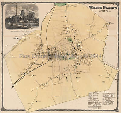 White Plains New York Antique Map Beers 1868 Original