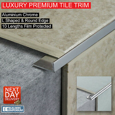 10x HEAVY DUTY TILE TRIM - L SHAPED or ROUND EDGE - ALUMINIUM CHROME 8,10 & 12mm