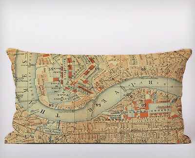 Vintage London Map Printed Long Cushion Covers Pillow Cases Home Decor Inner
