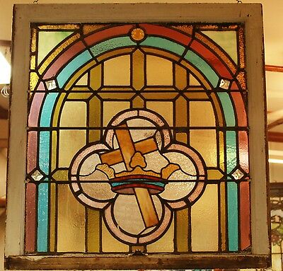 Architectural Antique Leaded Religulous Stained Glass Window Circa 1900