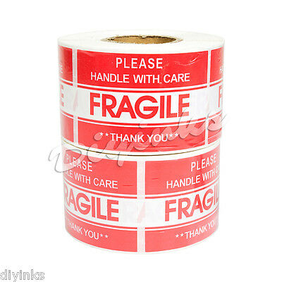 "1000 2"" x 3"" FRAGILE HANDLE WITH CARE Stickers, Easy Peel and Apply 2 Rolls"