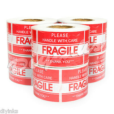"3000 2"" x 3"" FRAGILE HANDLE WITH CARE Stickers, Easy Peel and Apply 6 Rolls"