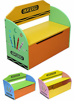 Kiddi Style Childrens Crayon Wooden Toy Box, Storage Unit, Bench+Chair-NEW Kids