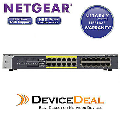 NETGEAR JGS524PE ProSAFE Plus 24-Port Gigabit Rackmount Switch with 12 Port PoE