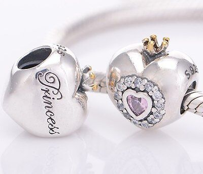 PRINCESS HEART 925 Solid Sterling Silver Charm Bead for Bracelet