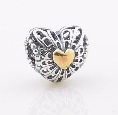 GOLD HEART 925 Sterling Silver Solid European Charm Bead for Bracelet
