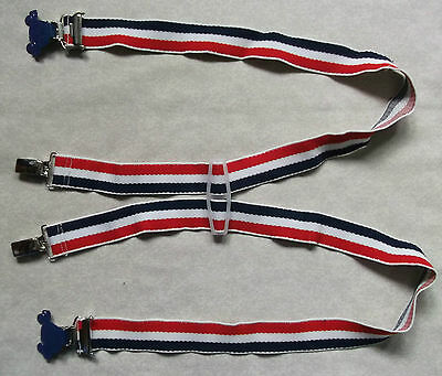 BOYS GIRLS VINTAGE 1970s CLIP ON BRACES ADJUSTABLE AGE 4 - 8 NAVY RED STRIPED