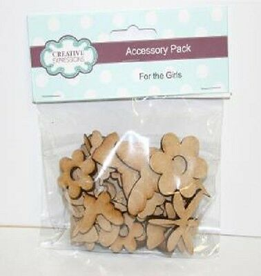 Creative Expressions MDF GIRL ACCESSORY PACK 34 Pieces CEMDFGIRLACC Flowers