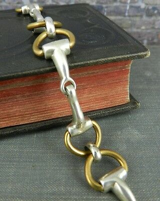 Mexican Sterling Silver & Brass Horse Bridle Bit Toggle Bracelet