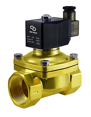 """Brass Electric Air Gas Water Solenoid Valve Normally Closed 1.25"""" Inch  24V DC"""