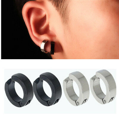 1 Pair Men Stainless Steel Non Piercing Clip On Ear Stud Cuff Hoop Earrings Gift