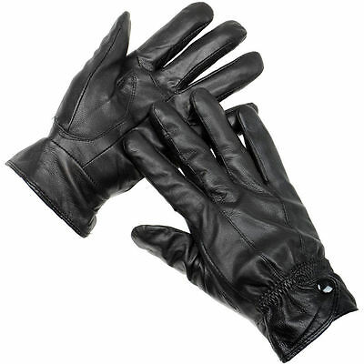 Ladies Boxed Black Soft Leather Fleece Lined Gloves. Driving Size M/L