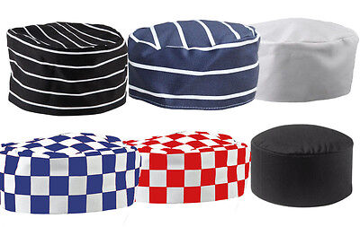 Chefs Skull Cap Hat For Professional Catering Chef Kitchen Cooks In Check Stripe