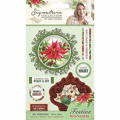 SARA DAVIES Signature Collection FESTIVE WONDER 3D Toppers SILENT NIGHT S-FW-TP