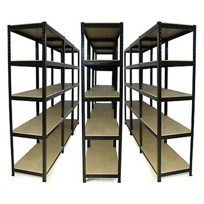 90x40x180cm Black Metal Warehouse Racking Storage Garage Shelving Shelf Shelves