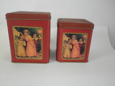 Retro 'Old World Little Girls' Canisters
