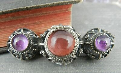 Mexico Sterling Silver Pink & Purple Stone Poison Pillbox Pin/ Brooch