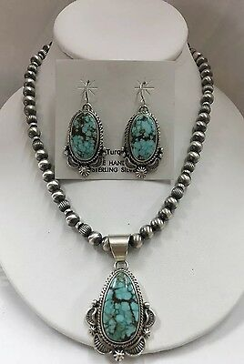 Native American Sterling Silver Navajo #8 Turquoise Necklace With Earrings