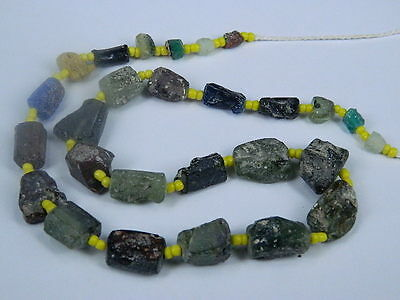 Ancient Glass Fragment Beads Strand Roman 200 BC No Reserve    #ML1147