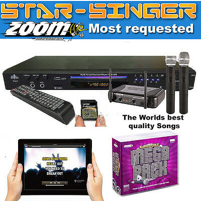 KARAOKE MACHINE /StarSinger MEGA PACK Player + 2 WIRELESS Microphones + Discs