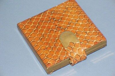 Vintage Square Reptile SKIN COMPACT w Puff Alligator or Snake