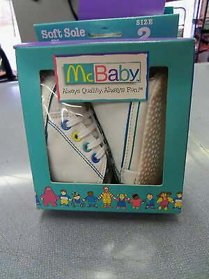 Nib Baby Shoes Infant Newborn Size 2 Leather Tennis Soft Soles Shoes Mcbaby