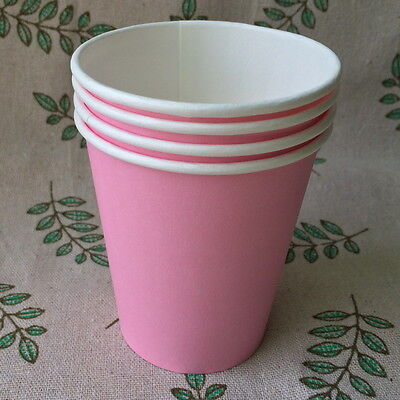 50pcs Disposable Paper Cups 7oz Pink For Wedding Birthday Party Decoration