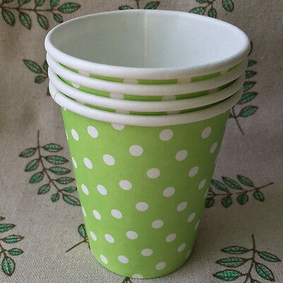 50pcs Disposable Paper Cups 7oz Green Polka Dots For Wedding Party Decoration
