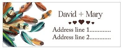 30 Personalized Custom Address Labels Feathers cute Stickers