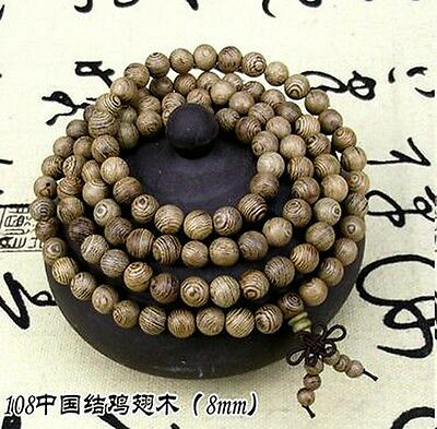 8mm Tibet Buddhism 108 Wenge Wood Prayer Beads Mala Necklace