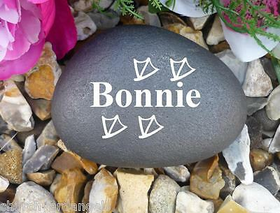 Pet Memorial - Small Pebble (Stone Effect) - Personalised - Weatherproof - Duck