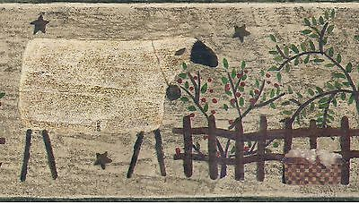 Country Folk Art Sheep's Wool Sign - ONLY $9 - Wallpaper Border A099