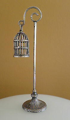 Sterling Silver Miniature Birdcage Pedestal Base Stand Mini Victorian Dollhouse
