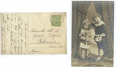 1912 Luxembourg posted children Real Photo postcard - cover