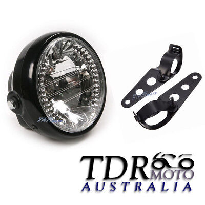 "For Metric Cruiser Cafe Racer Chopper - 6.5"" Headlight LED Signals with Brackets"