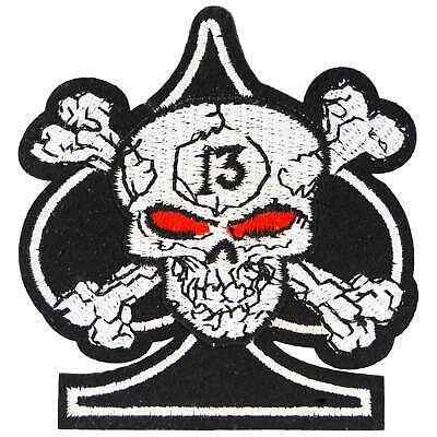 Lucky 13 Smoking Skull Iron On Patch Rockabilly Punk Kustom Kulture Retro Sew