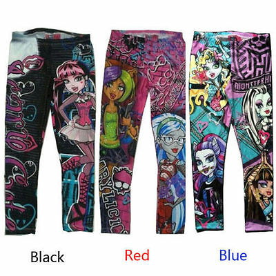 Monster High Printed Childs Kids Girls Clothes Pants Childs Leggings Trousers WX
